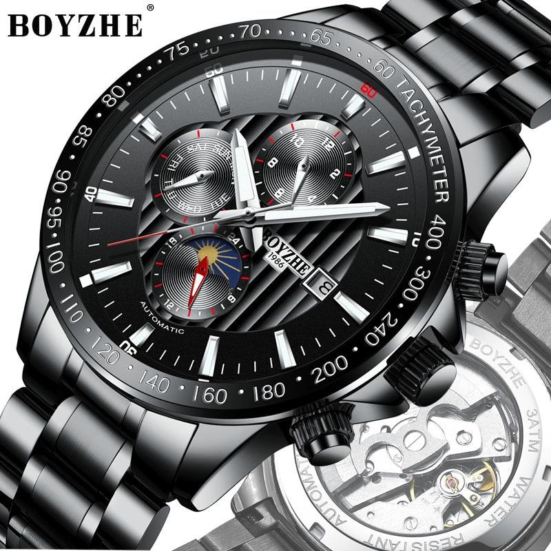 BOYZHE NEW Watch Men Luxury Waterproof Moon Phase Mechanical Watch Men Automatic Automatic Watches Steel Multifunction