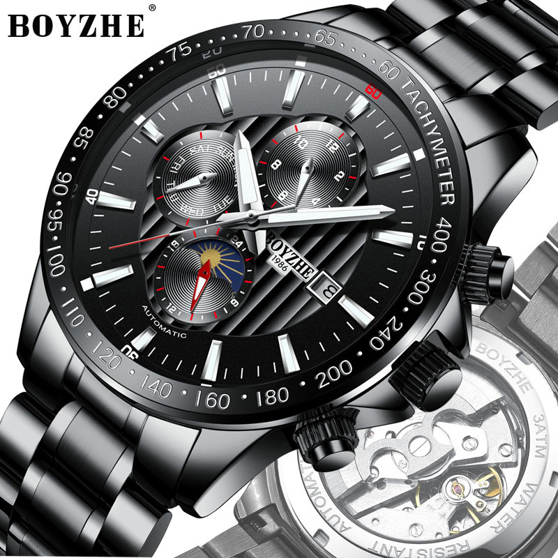BOYZHE NEW Watch Men Luxury Waterproof Moon Phase Mechanical Watch Men Automatic Automatic Watches Steel Multifunction RelojesBOYZHE NEW Watch Men Luxury Waterproof Moon Phase Mechanical Watch Men Automatic Automatic Watches Steel Multifunction Relojes