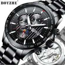 BOYZHE NEW Watch Men Luxury Waterproof Moon Phase Mechanical Automatic Watches Steel Multifunction Relojes