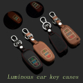 Genuine Leather Car Keychain Key Fob Case Cover for Audi A4 A8 A6L Q7 New A6L Smart/Folding Car Key Chain Rings Auto Accessories