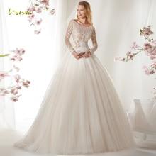 Loverxu Wedding Dress Long Sleeve Bride Dress Court Train