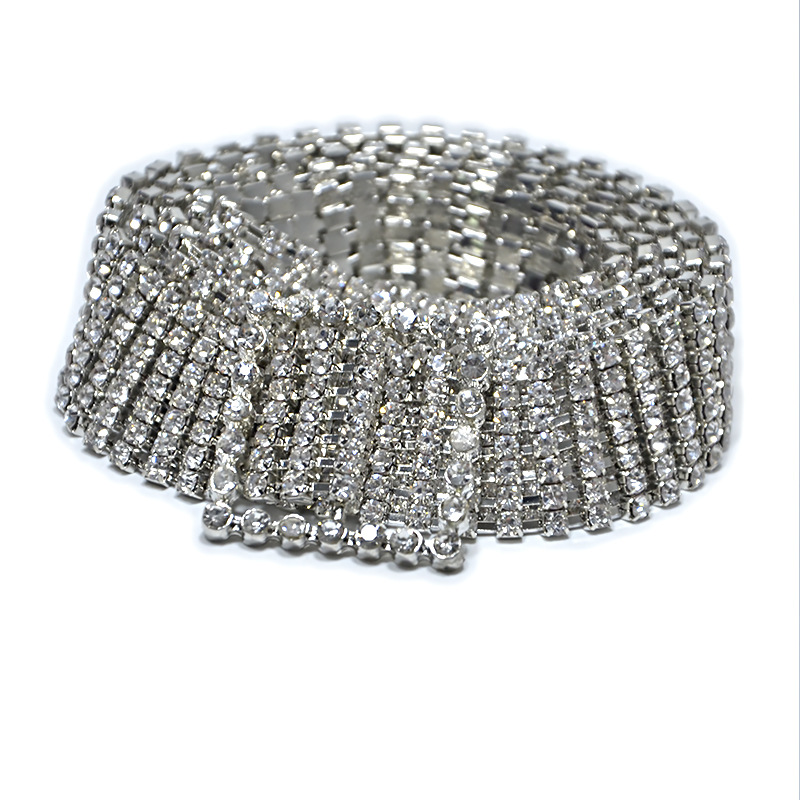 Fashion luxury ten row bright full rhinestone inlaid women's   belt   female bride wide bling crystal diamond waist chain   belt   2019
