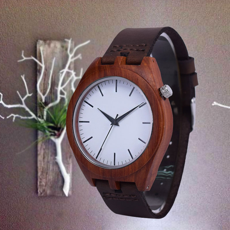 SIHAIXIN red bamboo wood watch for men with vintage classic saat Leather bracelet quartz wrist watches male clock Christmas gift fashion men bamboo wood quartz analog watch with genuine leather for men nature zebra stripe unique watch relogio clock gifts