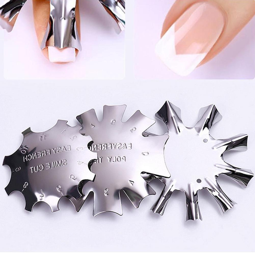 French Manicure Art Nails Modeling Shaping Steel Template Stainless Steel Template For Painting Acrylic Nails