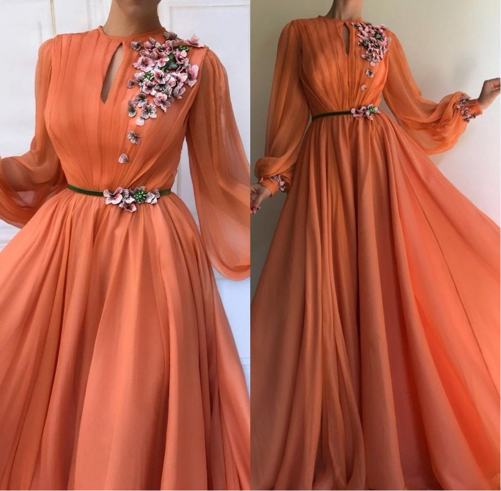 Muslim Orange Long Sleeves Flowers Dubai   Evening     Dresses   2019 A-Line Chiffon Islamic Saudi Arabic Long Prom Gown Robe de soiree