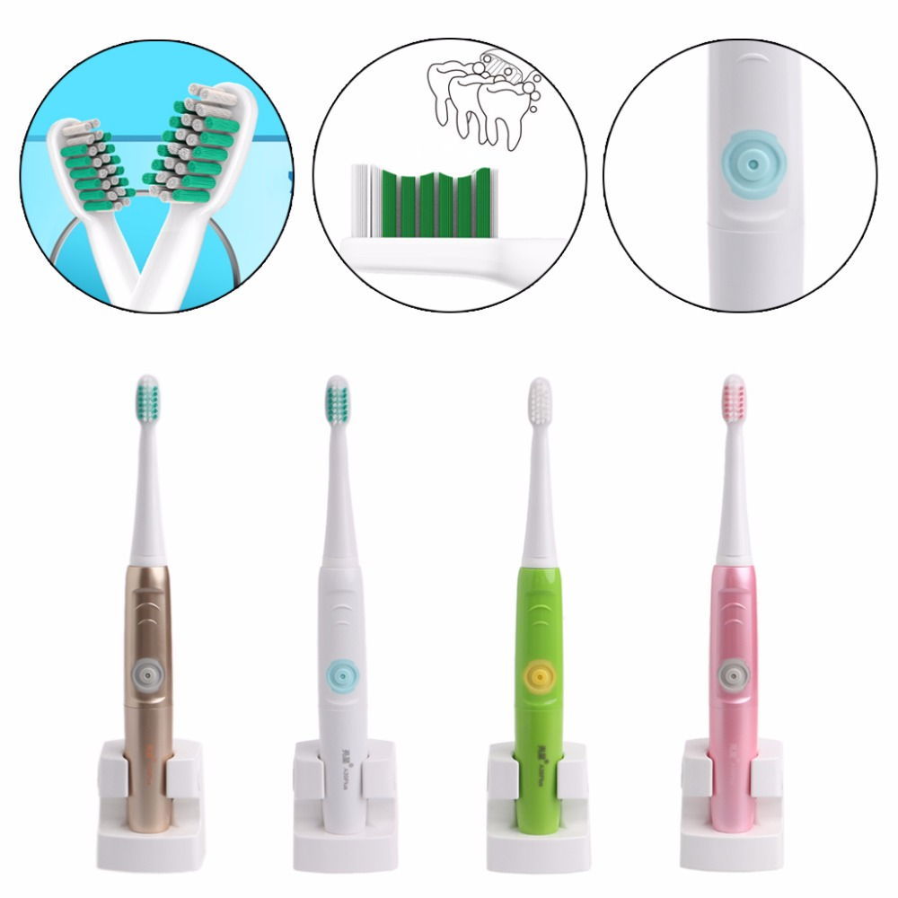 Rechargeable Electric Toothbrush Ultrasonic Sonic Electric 4 Heads Teeth Brush Gold,Blue,Green,Pink