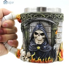 Home Water Cups 3D Coffee Mug Resin Tankard Viking Skull Death Double Wall Christmas Cup Creative Cups DropshipingAug1(China)