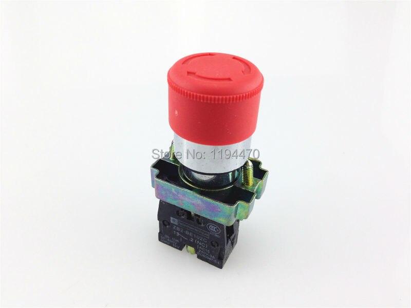 1 pcs/Lot XB2 BS442 XB2-BS442 rouge champignon tête tourner pour libérer 1 N/C tour réinitialiser arrêt d'urgence bouton poussoir interrupteur de verrouillage 30mm