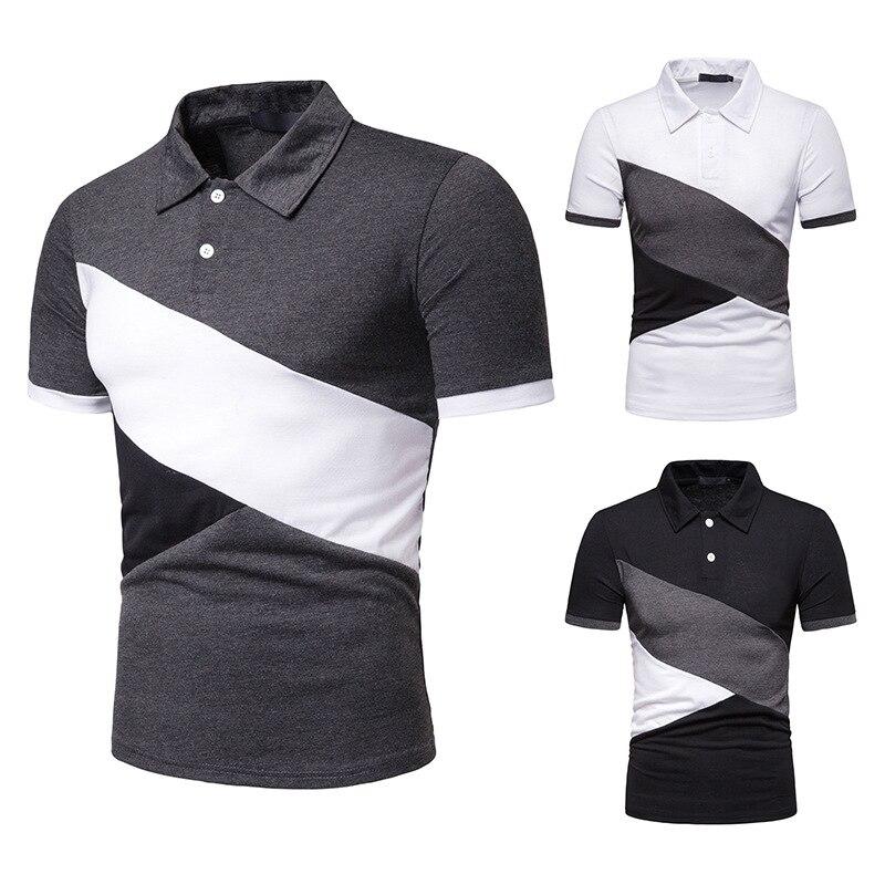 Classic Male   Polo   Shirt Button Patchwork Men   Polo   Shirt Turn-Down Collar   Polo   Shirts Man Short Sleeve