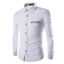 2017 Fashion men s white business shirt personality Leopard decoration man s long sleeved shirt Black