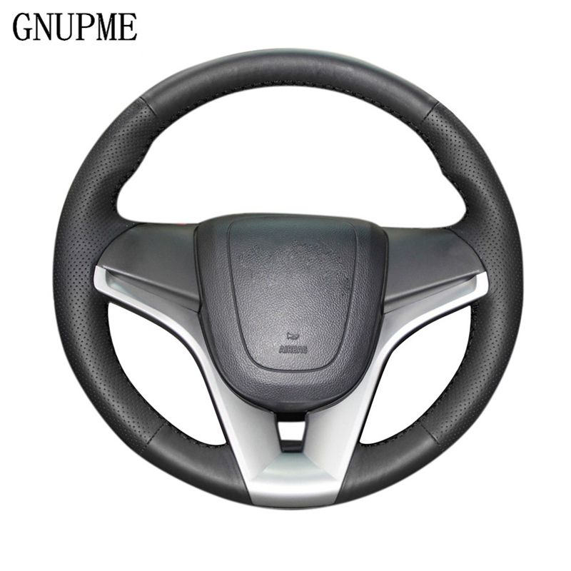 GNUPME Black Genuine Leather Car Steering Wheel Cover for Chevrolet Cruze Aveo Special hand-stitched Steering Covers