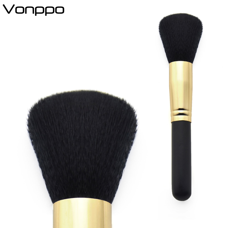 Brand Powder Single Brush Synthetic Hair Golden Tube Wood Handle High Quality Face Makeup Brush 136