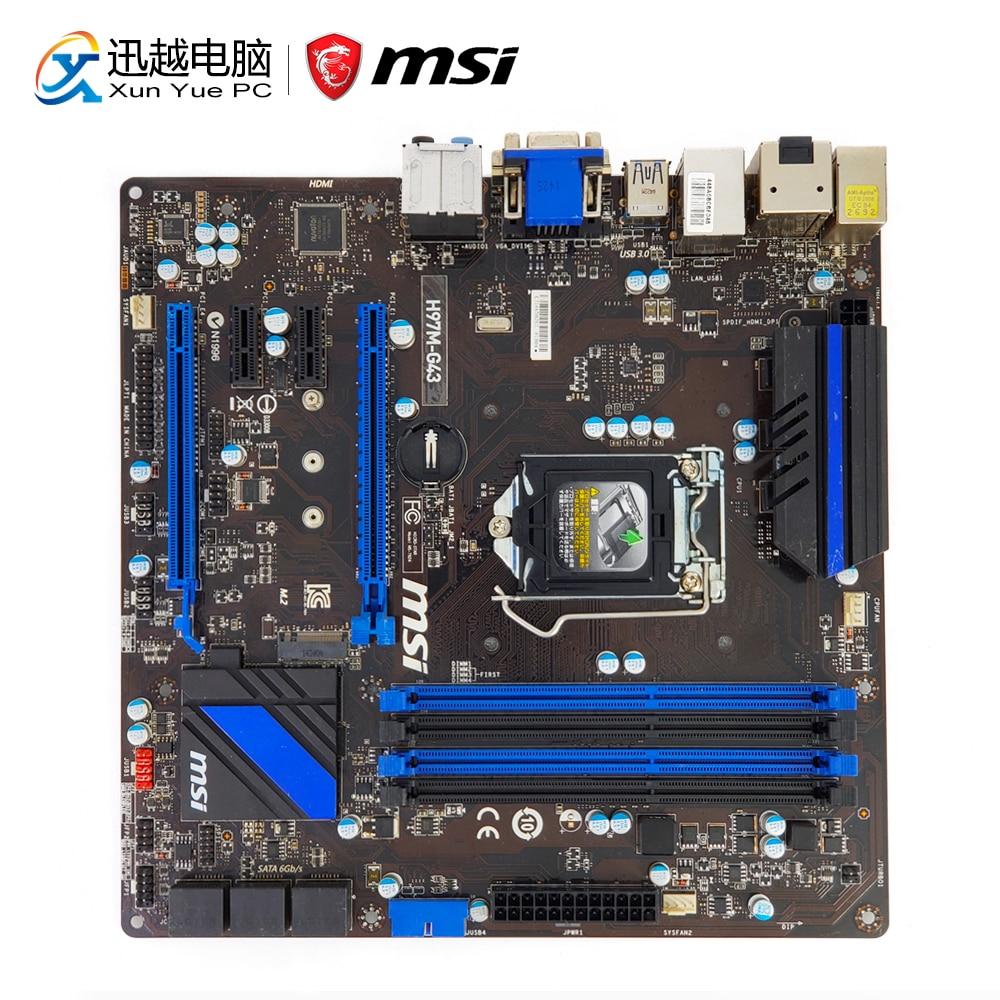 MSI H97M-G43 Desktop Motherboard H97 Socket LGA 1150 i3 i5 i7 DDR3 32G M.2 SATA3 USB3.0 VGA DVI HDMI Micro-ATX msi h97m g43