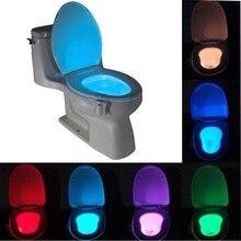 Luz Nocturna inteligente para baño, luz LED de movimiento del cuerpo, lámpara de Sensor activada On/Off para asiento, lámpara de 8 colores para inodoro, lámpara caliente