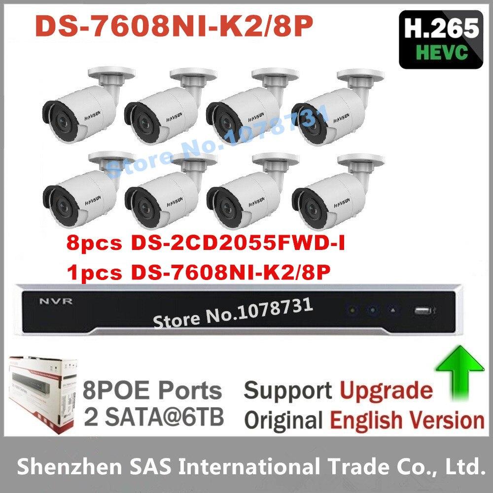 Hikvision DS-7608NI-K2/8P 8CH 8ports POE NVR + 8pcs Hikvision Surveillance Camera DS-2CD2055FWD-I 5MP Bullet CCTV Camera H.265 package sale cctv kit english nvr ds 7616ni e2 8p multi language 3mp ip camera ds 2cd2035 i 8pcs cctv system free shipping