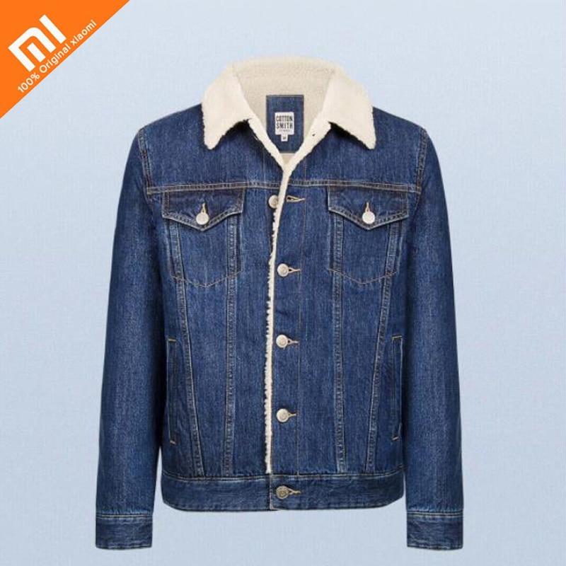 original xiaomi mijia Cashmere denim jacket 100% cotton fashion wild soft comfortable men's denim jacket winter denim jacket ripped stitch detail denim jacket