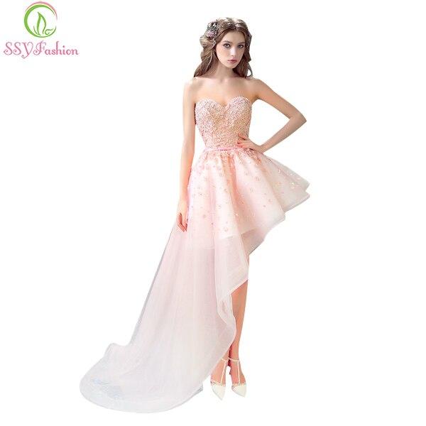 bb9a70c8c0693 فساتين السهرة ssyfashion العروس مأدبة الوردي الرباط الحبيب الزهور قصيرة  الجبهة العودة ذيل طويل فستان السهرة