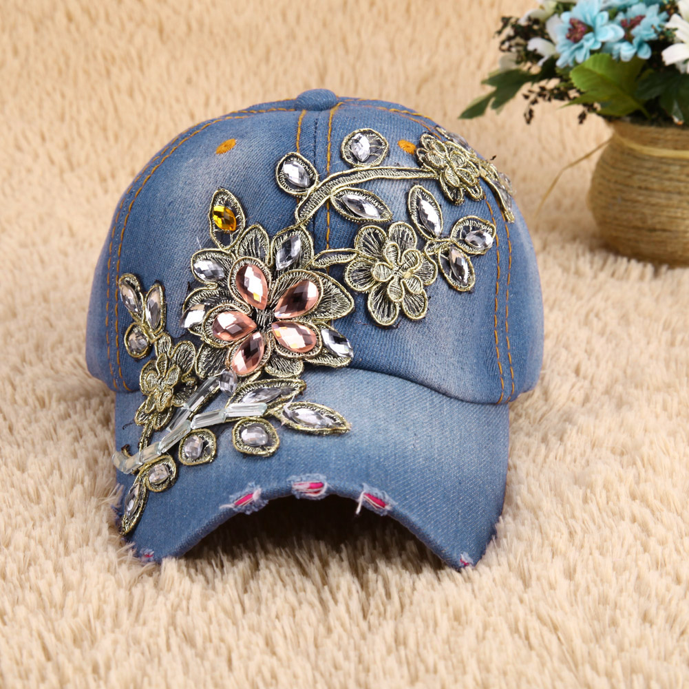 New Brand Women's Baseball Cap Full Crystal Flower Denim Bling Rhinestone Women Snapback Cap Adjustable Stylish Unisex Caps