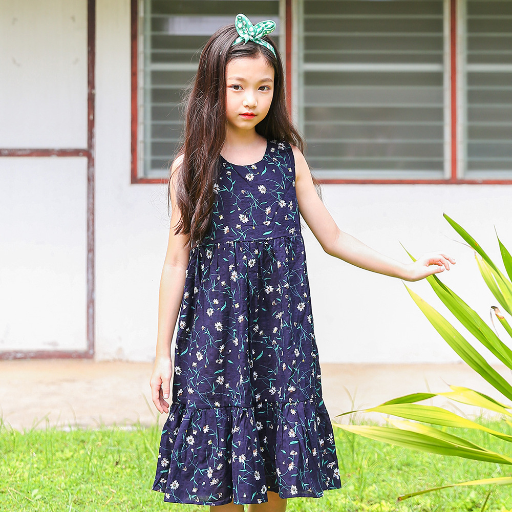 Sleeveless Big Girls Floral Dress 2018 Summer Girl Dresses Teenagers Clothes Kids Clothing 4 5 6 7 8 9 10 11 12 13 14 15 Years kids 2017 new summer big flower chiffon girl dress sleeveless solid color dress 3 4 5 6 7 8 9 10 11 12 years baby girl clothes