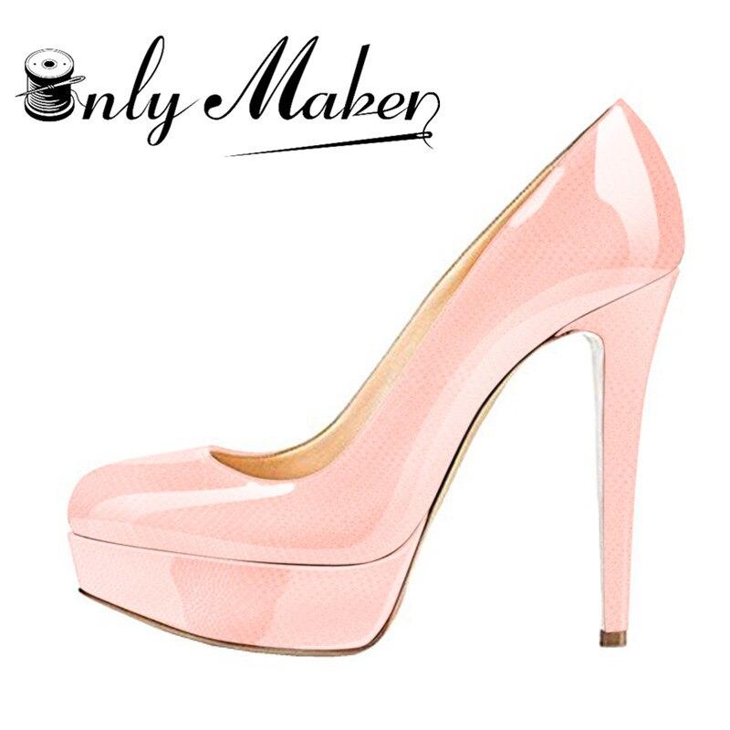 onlymaker Women s Round Toe Super High Heel Platform Stiletto Slip on Pumps for Wedding Party