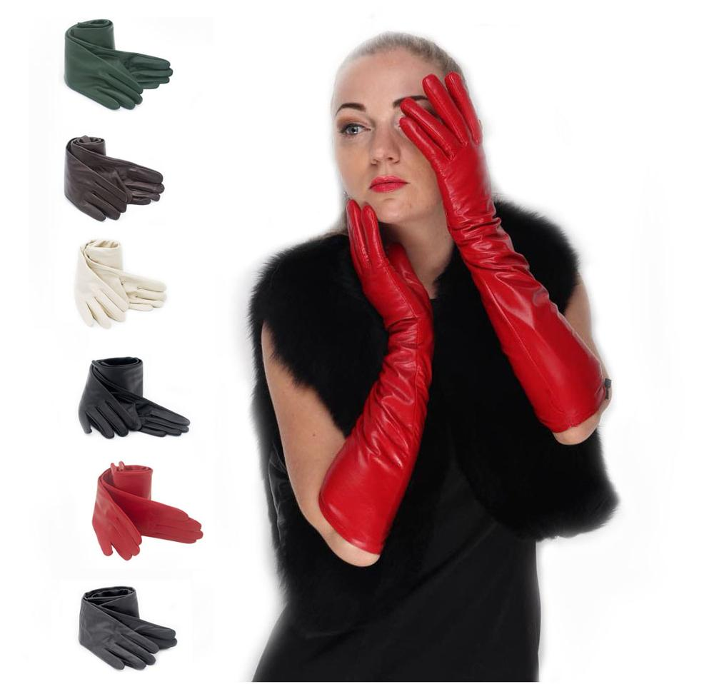 women new top real leather plain real sheep leather evening warm elbow long gloves black red grey beige green blue