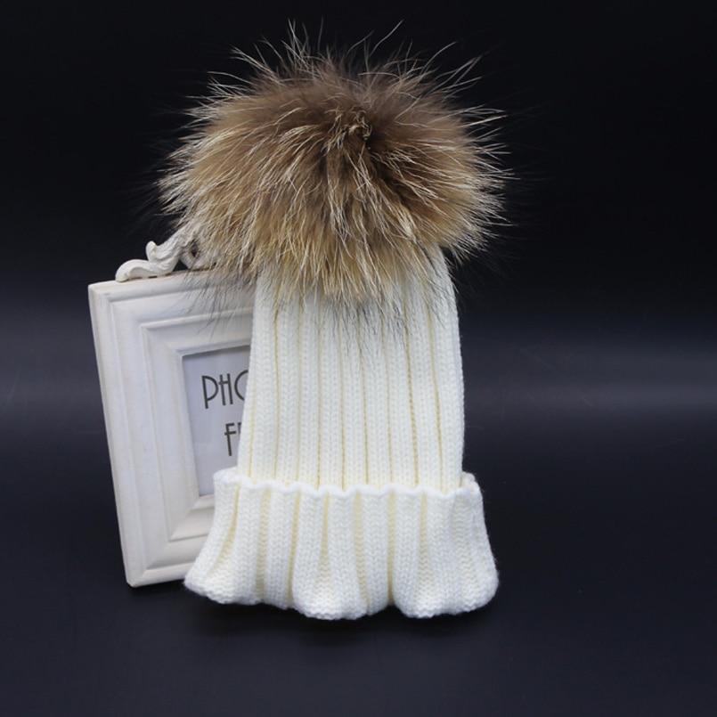 2018 Mode Anak Musim Dingin Topi Bulu Pompom Bayi Rajutan Topi hangat - Aksesori pakaian - Foto 5