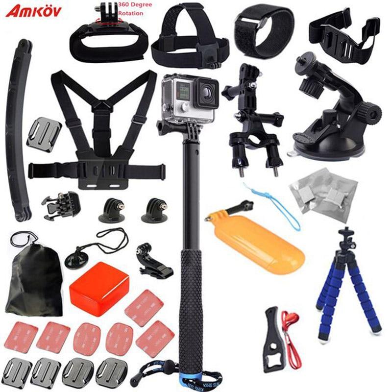 Vente chaude Sport caméra accessoires ensemble Kit de montage poitrine sangle de tête support pour voiture pour-Go Pro Hero3/Xiaoyi Mi Kit d'accessoires