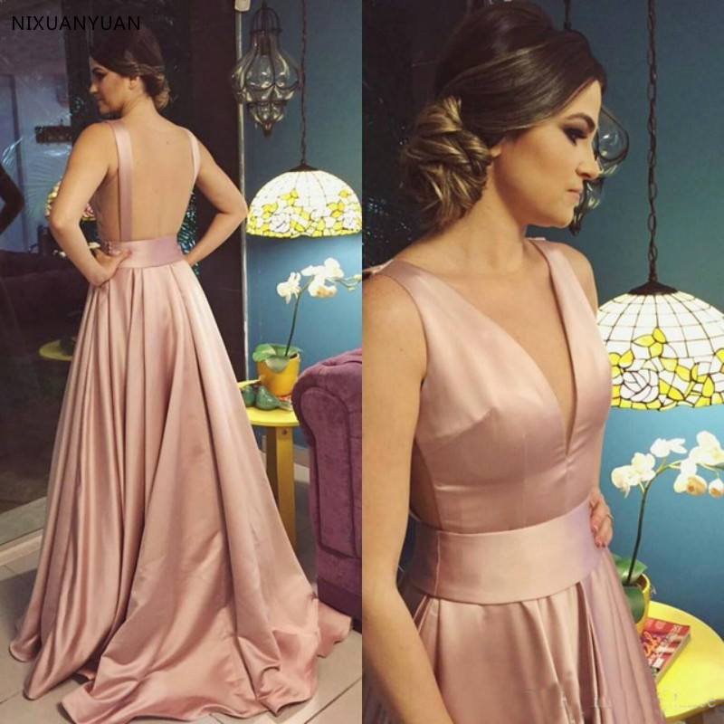 Blush Pink Long Prom Dresses Formal Occasion Gowns Deep V-Neck Backless Evening Gown A-Line Girls Party Dress Graduation Vestido