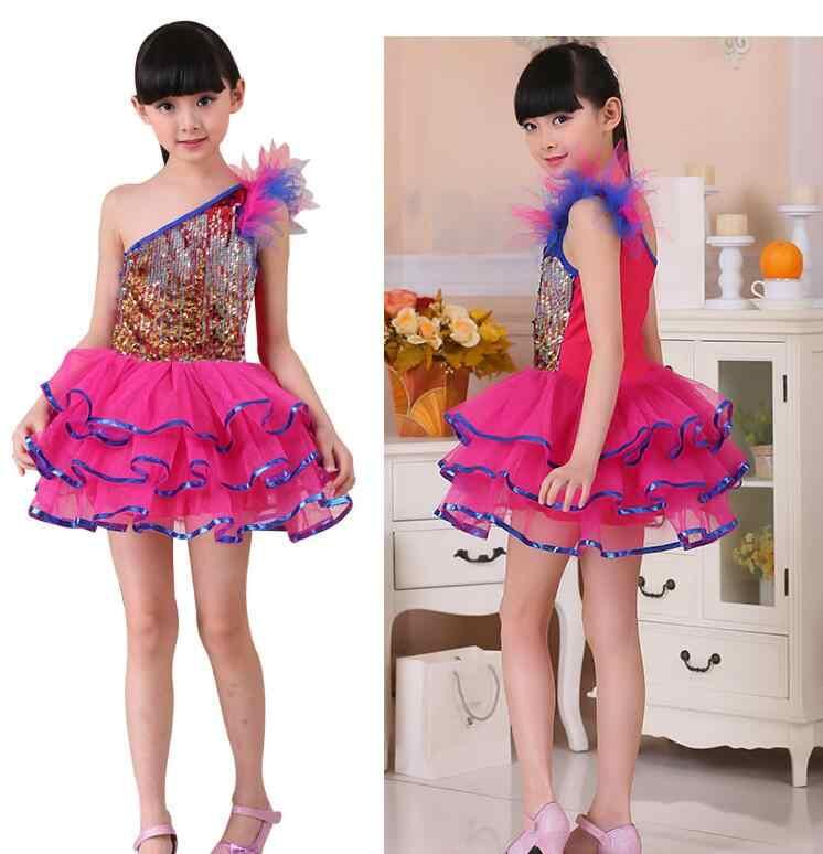 Ballett kleid Sequin Fringe Latin Dance Kleid Bachata Latin Salsa Kleider Junior Kind Kinder Mädchen Latin Dance Kostüme