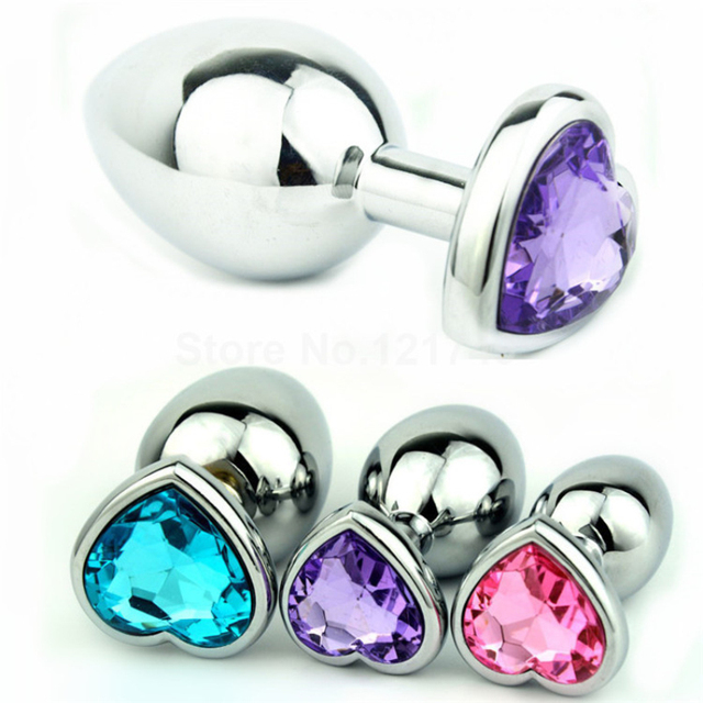 Large Size Heart Shaped Stainless Steel Crystal Anal Plug Jewelled Butt  Plug Anal Sex Toys Products for Couples GS0210