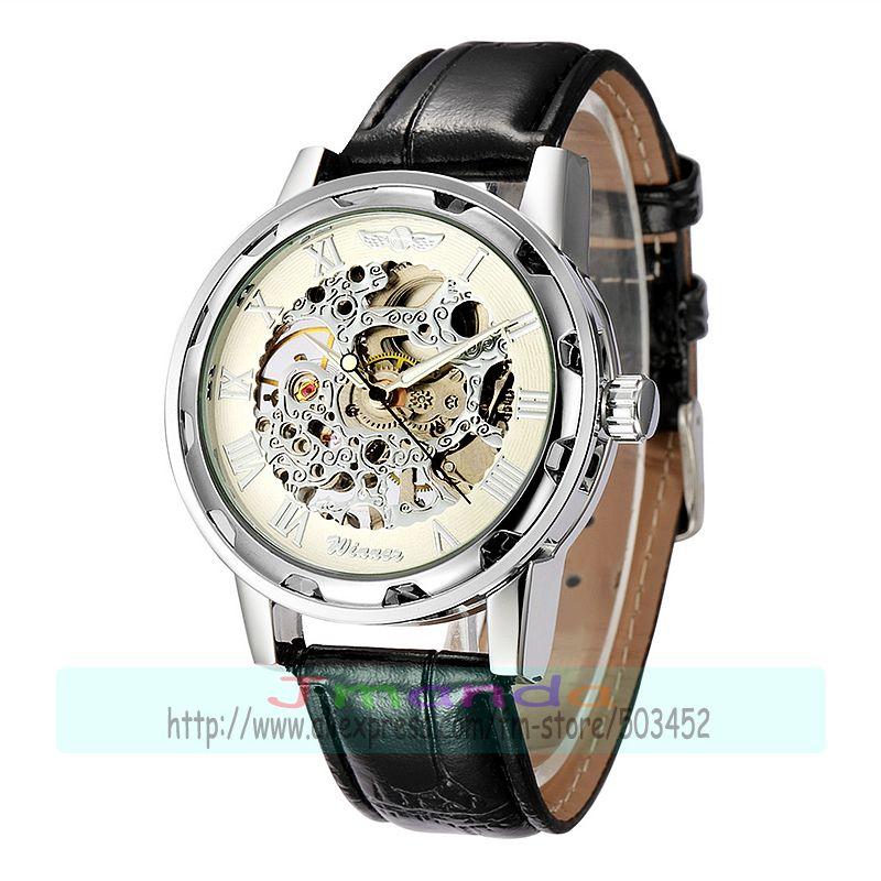 30 шт./лот победитель-614 победитель брендовая натуральная кожа часы, Скелет механические часы hollow out механические часы - Цвет: silver dial silver