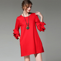 Europe Fashion Brand Women S Ruffles Sleeve Solid Red Black Dress 2017 Spring Summer Stylish Celebrity