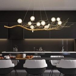 Retro Iron Branch Led Pendant Chandeliers Lustre Dining Room Led Chandelier Lighting Bird Nest LED Hanging Lights Fixture