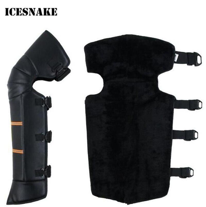 ICESNAKE En Cuir Coupe-Vent D'hiver Vent Neige Vélo Moto Genou Chaud Pad Leg Warmer Protecteur Genou Protecteur Couvre