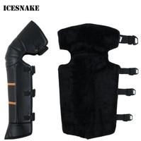 ICESNAKE Leder Winddicht Winter Wind Schnee Fahrrad Motorrad Warm Kniepolster Bein Schutz Knie Schutzabdeckungen
