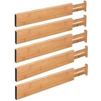 Bamboo Drawer Separator 5 Adjustable Drawer Tissue Separators for Kitchen, Bedroom, Baby Drawer, Bathroom and Desk