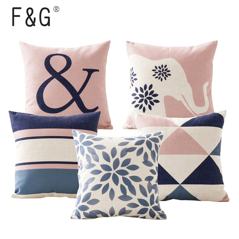 >Nordic Design Cushion Cover <font><b>Pink</b></font> Blue Geometric <font><b>Throw</b></font> Pillowcase 45cmX45cm Color Decoration Home Office Car Bed Seat <font><b>Pillow</b></font> Case