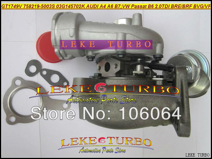 Free Ship GT1749V 758219-0003 758219 03G145702K 03G145702F Turbo For AUDI A4 A6 For Volkswagen VW Passat B6 BLB BRE DPF 2.0L TDI turbo repair kit rebuild gt1749v 454231 454231 0003 454231 5012s 454231 0001 for audi a4 b6 a6 v5 vw passat b5 avb bke 1 9l tdi
