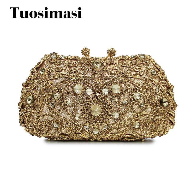 gold metal and gold crystal stone evening bag hard shell clutch bag ladies handbag (8651A-GG) box clutch purse