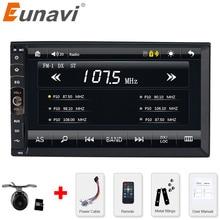 Eunavi 2 DIN radio de Coche/GPS/MP3/mp5/usb/sd/reproductor de Manos Libres Bluetooth Retrovisor después de sistema Libre de la Cámara de pantalla Táctil