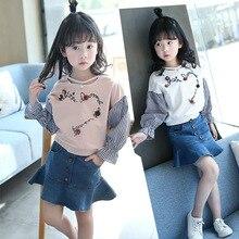 2017 New Design Spring Autumn Girls Pearl flower letters T-shirt Kids Patchword Striped T-shirt +Lotus Leaf Hem Denim Skirt 2pcs