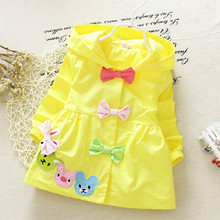 1pc 2016 spring Autumn Baby Girls Trench Coat hoodies imitation Tencel cute bow bear jackets kids coats outfit 0-3years