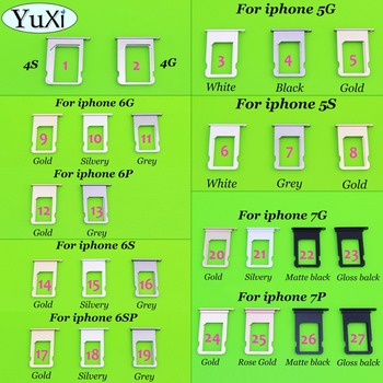 YuXi Nano SIM Card Holder Tray Slot for iphone 6P 6SPlus 7plus 7G 5S 4 4S Replacement SIM Card Holder Adapter Socket Accessories