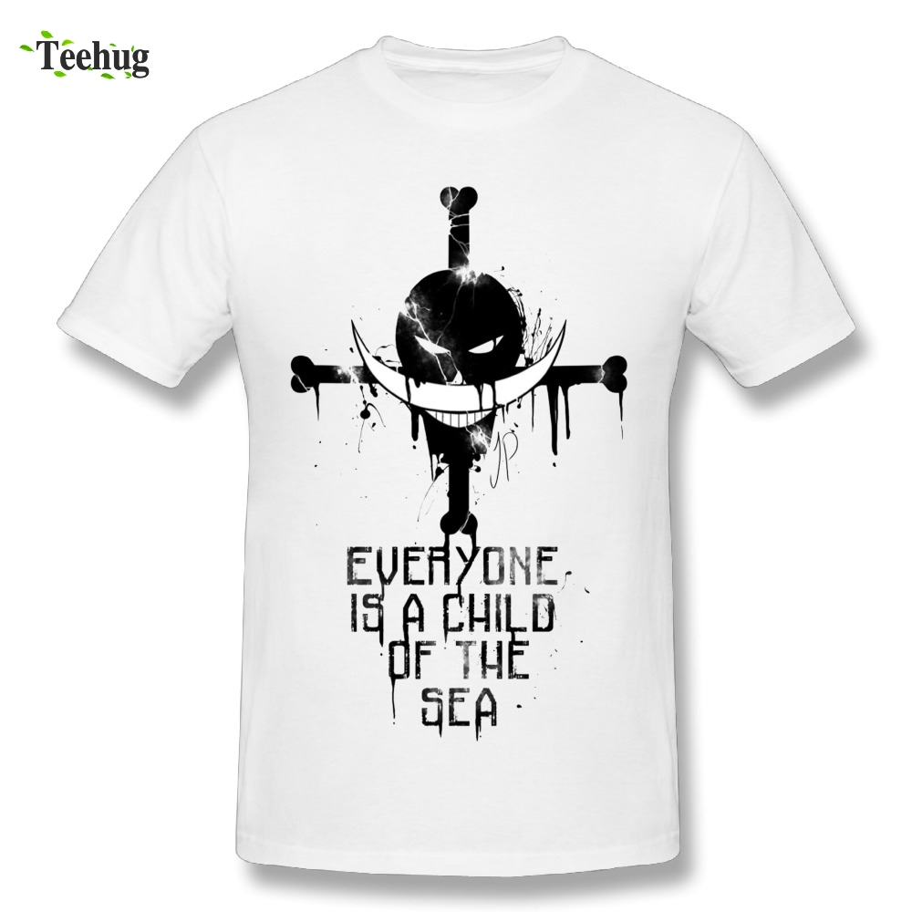 Japanese Anime One Piece T Shirt White Beard Pirate T-Shirt Awesome Round Collar Design Tees