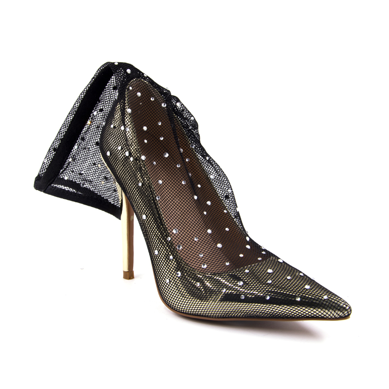 2018 Spring beaded flowers sexy high heels shallow Pointed Toe lace ladies sandals net cloth elegant women 39 s pumps wedding shoes in Women 39 s Pumps from Shoes