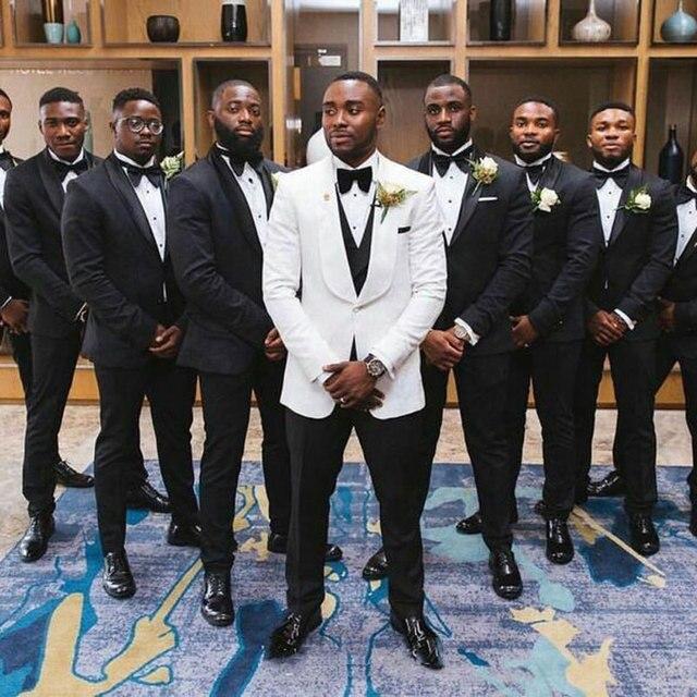 5c77fcf0bae9 Último abrigo pantalones diseños blanco trajes de boda para hombres  chaquetas novio esmoquin corte Slim Terno Masculino traje Homme Mariage 3  pieza