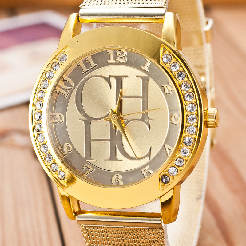 2019 New Luxury Brand Gold Crystal Casual Quartz Watch Women Metal Mesh Stainless Steel Dress Watches Relogio Feminino Clock Hot in Women 39 s Watches from Watches