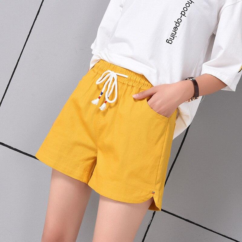 2019 Cotton Shorts Women Korean Students Elastic Waist Hot Loose Large Size Sports Casual Female Summer Wide Leg Shorts Woman
