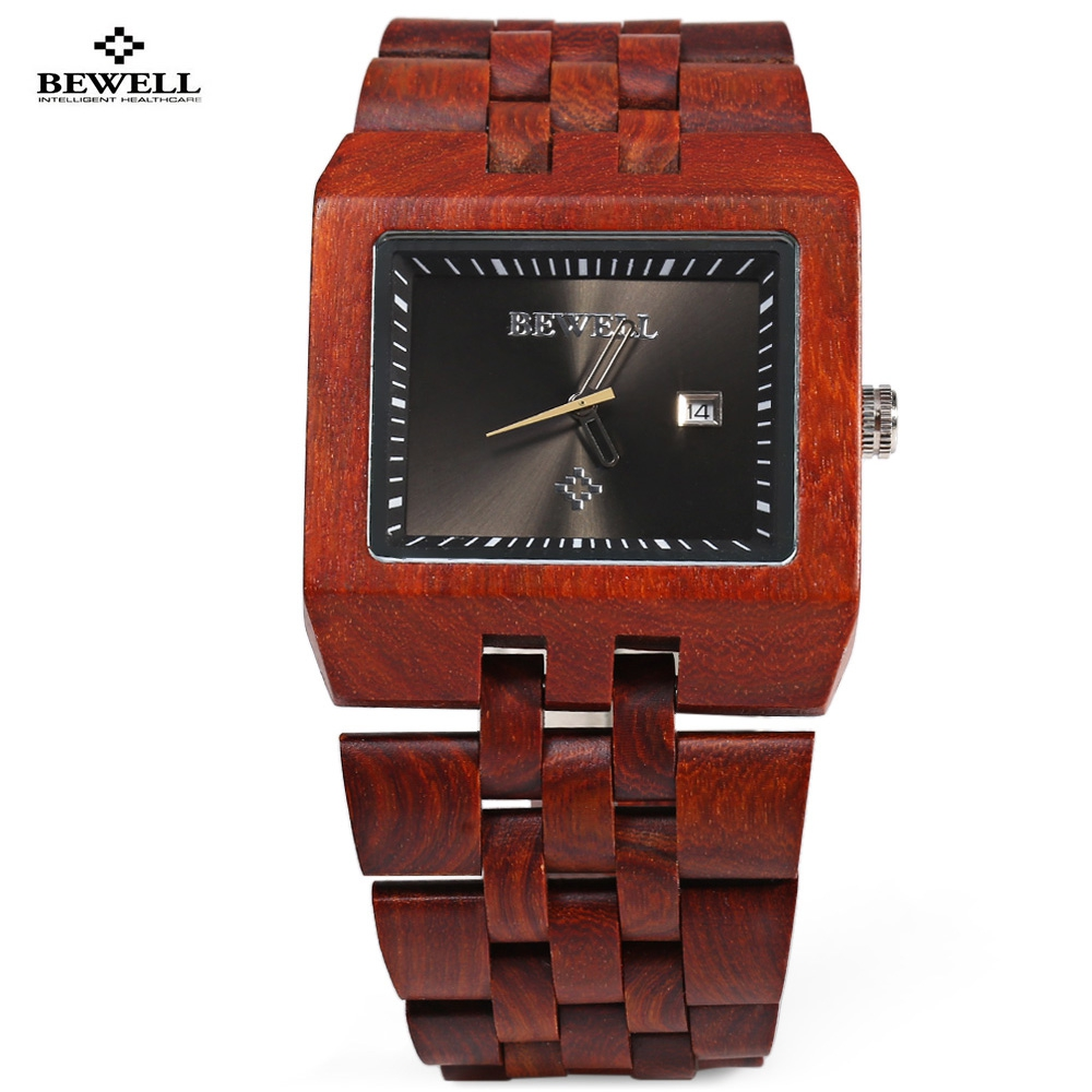 New Fashion Male Wooden Watch Men Top Luxury Brand Bewell Dress Wristwatch Analog Quartz Rectangle Dial Watches reloj hombre bewell multifunctional wooden watches men dual time zone digital wristwatch led rectangle dial alarm clock with watch box 021a