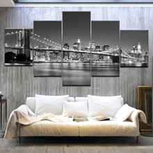 5 Panel/pieces HD Print The modern city gray wall posters On Canvas Art Painting For home living room decoration